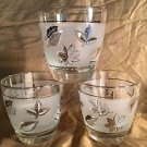 """3 LIBBEY fall leaves metallic silver frosted short tumbler glasses vintage 3.25"""""""