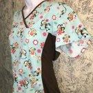 Turquoise brown monkey knit sides pullover scrubs top nurse dental medical vet M