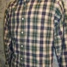ABERCROMBIE & FITCH long sleeve shirt button down mens L khaki plaid cotton Used