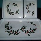 3 piece vintage plastic CHRISTmas holly leaf serving trays JAPAN white green red