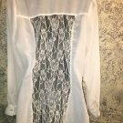 Sheer ivory lace panel blouse S button front roll up sleeve dressy BODY CENTRAL