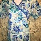 Turquoise abstract flowers scrubs top uniform dental medical nurse S WHITE CROSS