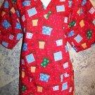 Red CHRISTmas presents pullover v-neck scrubs top dental medical nurse vet L