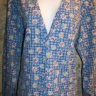 Bright cheerful blue flowers snap front v-neck scrubs jacket medical nurse vet M