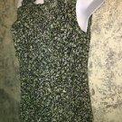 ANN TAYLOR black print sheer ruffled sleeveless blouse w/cami 4 ruffled flowing