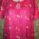 Silky bright pink floral nightgown house dress knee length short sleeve modest M
