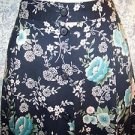 Black floral below knee skirt women M elastic button front SAG HARBOR career GUC