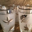 "4 LIBBEY fall leaves metallic silver frosted juice 4"" glasses vintage EC elegant"