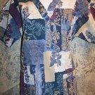 Medline botanical floral blue teal v-neck scrubs top dental medical nurse vet M