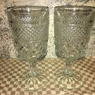 2 ANCHOR HOCKING Wexford diamond pattern water wine glasses goblets clear 8 oz