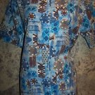 Blue brown abstract design short sleeve yellow scrub top jacket dental vet XS