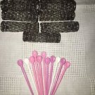 Lot 11 old style brush spring mesh hair curlers rollers pins black approx 2x1/2""
