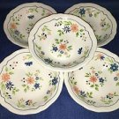 5 vintage SEARS French Country Ironstone salad bowls blue peach flowers scallop