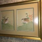 "Oriental print on silk quail birds gold framed art retail $240 elegant 24x33.5"""