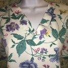 Spring flowers v-neck scrub uniform top 2 pocket dental medical nurse S floral