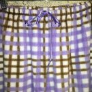 Purple brown plaid plush sleep lounge pj pajama bottoms pants L mid rise waist