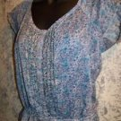 Blue floral semi sheer beaded dainty peasant top M gathered tie waist dainty NWT