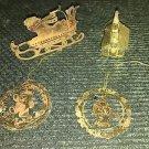 Gold metal die cut filigree CHRISTmas tree ornaments vintage sled girl church