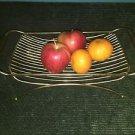 Vintage gold metal wire teak wood handle Mid Century fruit rack stand holder GVC