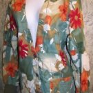 Artsy olive green floraldeep v-neck srubs top jacket medical uniform vet nurse S