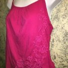 OLD NAVY fushia pink side tie floral embroidery spaghetti strap cami knit top M