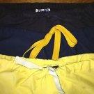 3 scrub pants dental medical nurse vet uniform drawstring elastic XS blue yellow