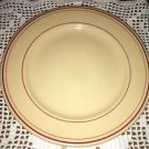 "BUFFALO CHINA beige dark pink ring band 9"" dinner plate restaurant dish vintage"