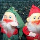 "2 vintage Japan felt posable CHRISTmas elves elf 7"" red green plastic face deco"