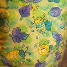 Cheerful insects bugs green v-neck July 4 scrub top jacket dental vet uniform L