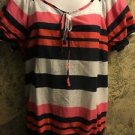 GH BASS CO lightweight cotton peasant style striped blouse top elastic waist L