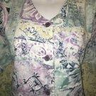 Modest v-neck BARCO abstract scrubs top jacket dental button down vet uniform S