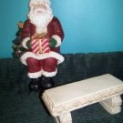 "Santa on bench 2 pc set CHRISTmas winter figure decoration 8x10"" heavy resin"