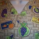 Fruit print beige purple pullover v-neck scrubs top nurse dental medical women M
