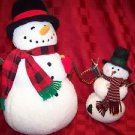 """2 stuffed berber snowman 8"""" 15"""" CHRSTmas winter holiday country decorations used"""