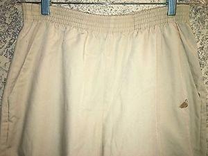 Khaki beige scrubs pants dental medical vet high elastic waist straight leg S