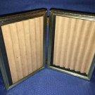 Bi-fold vntg emboss bright shiny gold metal double hinge 5x7 frame photo beaded