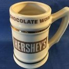 "HERSHEY'S Chocolate World large 5.5"" coffee cocoa mug cup stein ivory gold heavy"