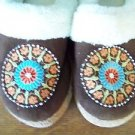 Brown indian deco plush lined rubber sole cushion pad insole slip on women S 5-6