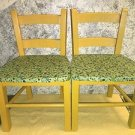 "2 children's child wood chairs vintage 20"" high yellow pain green covered seats"