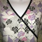White black lilac flowers mock wrap scrubs top nurse medical dental L back tie