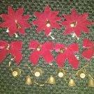 Lot vintage bows bells velvet poinsettia red brass/gold CHRIST-mas tree decor