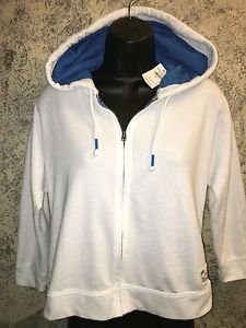 HOLLISTER shorty mid drift hooded hoodie zipper jacket NWT bright white blue XS