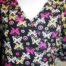 Black bright cheery butterflies wrap look crossover scrub top nurse dental 1-2X