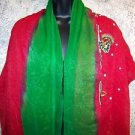 "42x64"" Indian dupatta scarf shawl wrap sheer chiffon iridescent green red sequin"