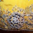 "Gold kurti kutra tunic dress rhinestones silk ? ornate unique 34"" bust handmade"