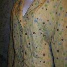 ELCC yellow polka dot embroidered medium weight blazer jacket coat 3 button XL