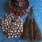 Black pink 4 hats 3 brooms 13 skull bandanas girls Halloween gift prize lot
