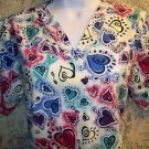Cheery Valentine Day heart print v-neck scrubs top nurse medical uniform size S