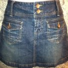 Womens junior size 5 denim jean mini knee skirt GLO stretch front flap pockets