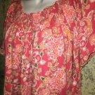 CHARTER CLUB elastic scoop neckline flutter sleeve orange paisley knit top XL